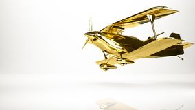 Golden 3d rendering of a airplane inside a studio. On a white background Stock Image