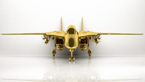 Golden 3d rendering of a airplane inside a studio. On a white background Stock Photography