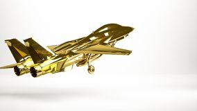 Golden 3d rendering of a airplane inside a studio. On a white background Royalty Free Stock Photography