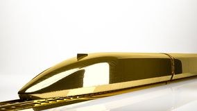 Golden 3d rendering of a fast train inside a studio. On a white background Royalty Free Stock Photo