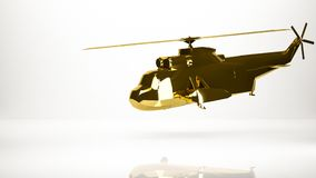 Golden 3d rendering of a helicopter inside a studio. On a white background Stock Photos