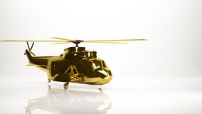 Golden 3d rendering of a helicopter inside a studio. On a white background Royalty Free Stock Photography