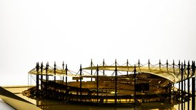 Golden 3d rendering of a stadium inside a studio. On a white background Stock Photo