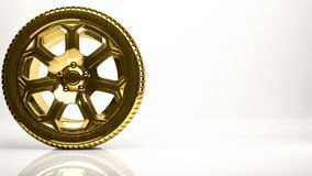 Golden 3d rendering of a wheel inside a studio. On a white background Royalty Free Stock Photography