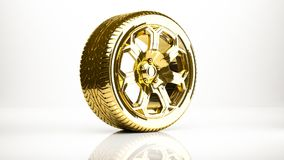 Golden 3d rendering of a wheel inside a studio. On a white background Stock Images