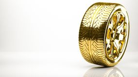 Golden 3d rendering of a wheel inside a studio. On a white background Royalty Free Stock Images