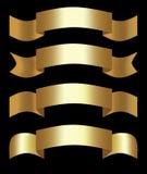 Golden 3d ribbons, decorative shapes for elegant design, set of four ribbons. Stock Photos