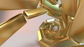Golden 3D spiral abstract. Golden Abstract Background created from spiral cubes along spline Stock Photography