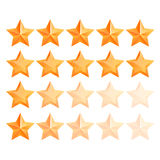 Golden 3d star premium Set. The best reward. Realistic 3D gold star Set. Award winner. Good job. The best reward. bulk copper star. Simple star on a white Stock Images
