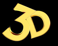 Golden 3d text on a black background. Close-up Royalty Free Stock Photo