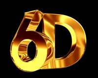Golden 6d text on a black background. 3d illustration. Golden 6d text on a black background Royalty Free Stock Image