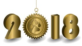Golden 3D 2018 year figures on a white background. The golden sun with the print of the dog`s paw is suspended. New year card template Stock Images