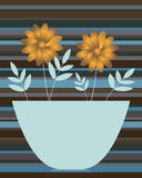 Golden daisies in a vase. Illustration of a frame with golden daisies in a vase on a striped background.EPS file available Stock Photo