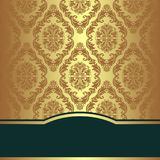 Golden damask Background with elegant Border. Is presented Stock Photography