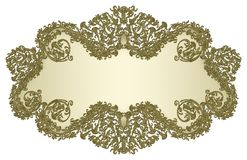Golden damask floral banner 2 Stock Photos