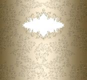Golden damask floral banner. Floral damask pattern banner in gold color decorated background with a space for your text Stock Images