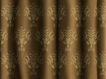 Golden Damask ornament on upholstery Royalty Free Stock Photo