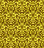 Golden damask seamless pattern repeating background. Royalty Free Stock Photo
