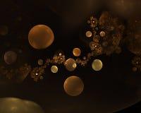 Golden dark distant planets. Digital illustration Royalty Free Stock Photography