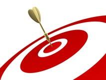 Golden dart hit on target. Golden dart hit target isolated on white background Royalty Free Stock Images