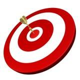 Golden dart hit on target. Golden dart hit target isolated on white background Stock Photo