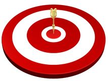 Golden dart hit on target. Golden dart hit target isolated on white background stock illustration