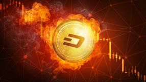Golden Dash coin falling in fire flame. Golden Dash coin in fire flame is falling. Burning crypto currency Dash falling down, blockchain cryptocurrency market Stock Image
