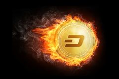 Golden dash coin flying in fire flame. Blockchain token grows in price on stock market concept. Burning crypto currency dash symbol illustration isolated on Stock Photos