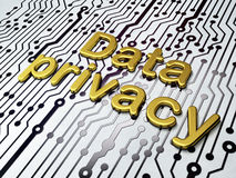 Golden Data Privacy on Circuit Board background Stock Images