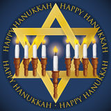 Golden David`s Star like Chanukiah to Celebrate Hanukkah, Vector Illustration Stock Photo