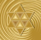 Golden David star on abstract swirl background. Elegant symbol of jewish nation and culture. Religion element in judaism. Stock Images