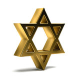 Golden David Star. Judaism Celebration. 3D Rendering Illustration Stock Photos
