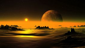 Golden Dawn on Alien Planet. Of dense fog slowly rises bright sun in a golden halo. On the dark starry sky a large planet moon slowly rotates. The rocky desert stock illustration