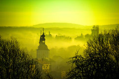 Golden dawn in easter european town of Krizevci Stock Photo