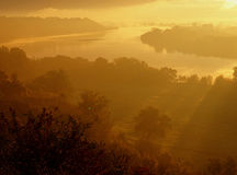 Golden daybreak on the Vistula River. Dreamlike sunrise over the bend in the river Vistula in Swiecie Stock Photos