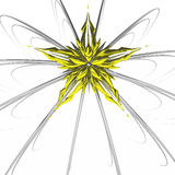 Golden Deco Star. Abstract star shape decoration 3d, over white Royalty Free Stock Photo