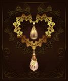 Golden decor heart with jewelry pebbles diamonds on a floral background with art deco ornament. Illustration background vector illustration
