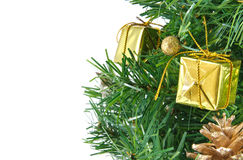 Golden decorated christmas tree isolated Royalty Free Stock Photos