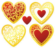 Golden decorated hearts set Stock Photography
