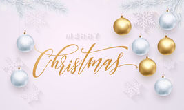 Golden decoration ball ornament Merry Christmas holiday greeting white snowflakes Royalty Free Stock Image