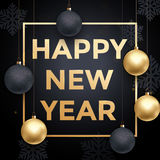 Golden decoration ball ornament New Year holiday greeting Stock Images