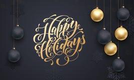 Golden decoration ball ornament winter Happy Holidays greeting Stock Photos