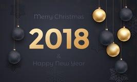 2018 golden decoration banner greeting card New Year black premium background Stock Photos