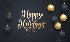 Golden decoration calligraphy lettering Hapy Holidays Stock Photography