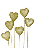 Golden decoration heart isolated on white Stock Photos