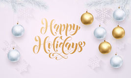 Golden decoration white calligraphy lettering Hapy Holidays Royalty Free Stock Images