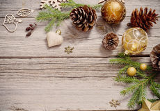 Golden decoration on  wooden background Royalty Free Stock Image