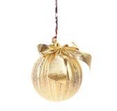 Golden decorativ christmas ball. Royalty Free Stock Photos