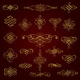 Golden decorative calligraphic design elements - vector set Stock Photography