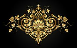 Golden decorative calligraphic floral ornament in vintage style royalty free stock images